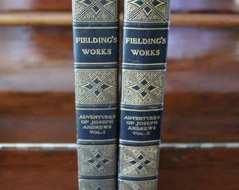 Fieldings Works Adventures of Joseph Andrews Two Volume Set P F Collier New York 1903 Hard Cover Antique Fiction Books