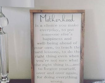 Motherhood,Gift For Mom,Gift For Her,Motherhood Quote,Farmhouse Decor,Mothers day Gift,Rustic decor,Bedroom Decor,Parent Quote,Mom Gift