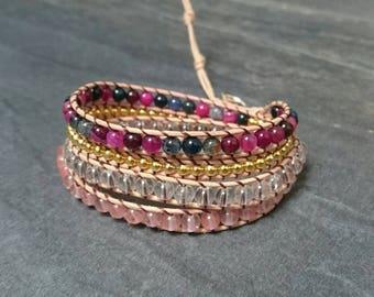 Wrap leather and 4 towers - quartz crystal agate gemstone bracelet