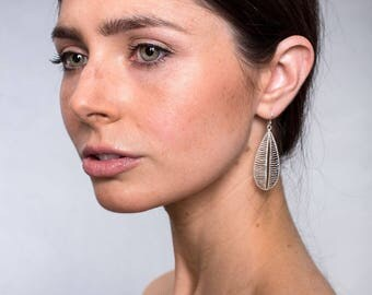 Handmade Sand-Brushed Delicate Sterling Silver Leaf Earrings