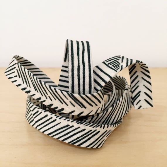 """Bias Tape in Black and white mixed stripes 1/2"""" double-fold binding- Art Gallery Indie Boheme Trouvaille Routes Sand- 3 yard roll"""