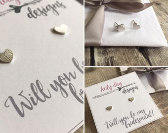 Gold or Silver Bridesmaid Heart Earrings, Bridesmaids Gift, Wedding Earrings, Gold or Silver Heart Studs