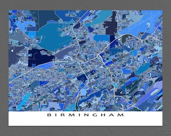 Birmingham Alabama Map Art, Birmingham Map Prints, Blue City Street Maps