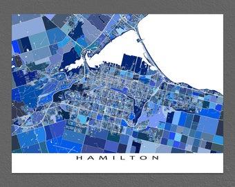 Hamilton Map Print, Hamilton Ontario Canada, City Street Art Print