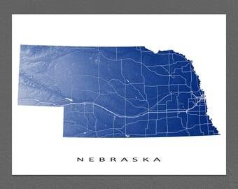 Nebraska Map, Nebraska State Art Print, USA, Omaha
