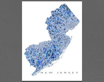 New Jersey Map Art, New Jersey Print, NJ State Maps