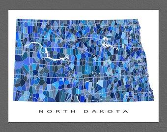 North Dakota Map Print, North Dakota State Art, ND Wall Artwork