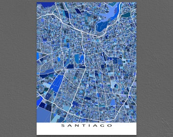 Santiago Map, Santiago Chile Art Print, South America Maps, Blue