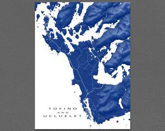 Tofino and Ucluelet Map Print, British Columbia Canada Art