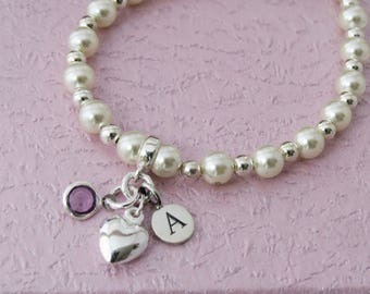 Pearl Bracelet with Sterling Silver Heart Charm, Personalised Stamped Initial Charm, Birthstone Bracelet