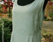 LINEN MAXI DRESS, floral embroidery, sage/seafoam green linen rayon, long sleeveless dress, Vintage 90s Boho, hippie chic elegant sundress L