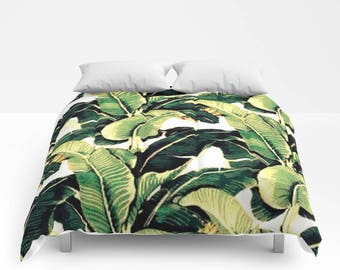 Green Palm Leaf Bedding Green Palm Leaf Duvet Green Palm Leaf Comforter Twin Twin XL Full Queen King Duvet Comforter