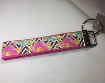 Key Chain - Pink Floral - Chevron