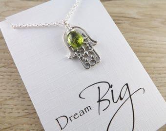Sterling silver hamsa hand pendant~peridot gemstone pendant~silver hand of hamsa pendant~protection charm pendant~sterling silver pendant