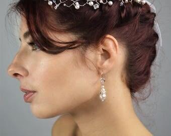 Wedding purple earrings / romantic Pearl Earrings
