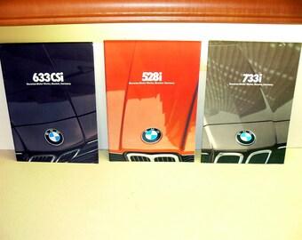 Vintage Bmw car brochures-car brochure lot-old sales brochure-BMW 733i sales brochure-bmw 633csi brochure-bmw 528i brochure-original bmw lot