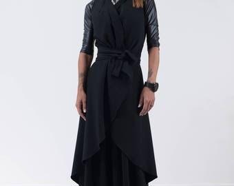 Extravagant coat/Black coat /Women trench coat /Black cardigan /Long coat /Autumn coat /Plus size coat/Autumn trench coat