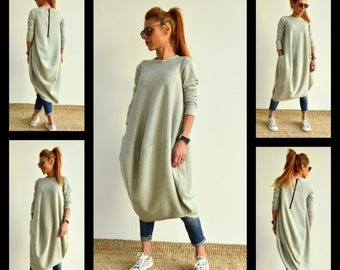 ON SALE Oversize Grey Tunic /Loose Casual Top / Asymmetric Long Sleeves Dress/ Maternity dress