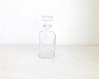 Clear vintage crystal glass whiskey decanter with embossing, Style 70's