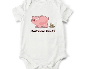 20% Funny baby bodysuit - Everyone poops, Funny baby clothes, Funny baby shower gift