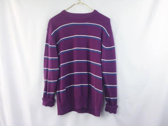 90s Vintage Le Tigre Pullover Sweater // Purple Striped Knit