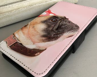 Pug Dog Breed on pink iPhone 6, 7 - Samsung Galaxy S7 S8 Leather Wallet Flip Case Cover