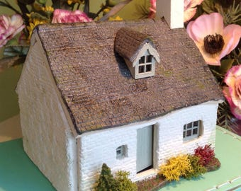 1/48, dolls house, Welsh, white washed stone, slated cottage