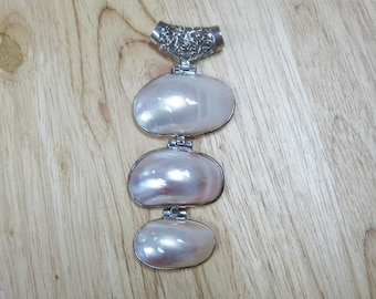Three Tier Mother of Pearl Pendant With Silver Loop Bail