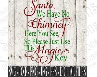 Santa Svg, Magic Key Svg, Christmas Svg, Christmas Sign Svg, Svg File, Digital File, EPS, DXF, PNG, Jpg, Svg, Cricut Svg, Silhouette Svg