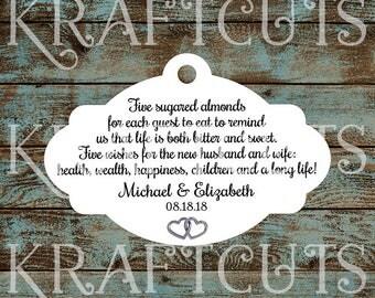 Favor Tags, Jordan Almond Favor Tags, Sugared Almond Favor Tags, Italian Wedding Favor Tags with Silver Hearts #789 - Quantity: 30 Tags