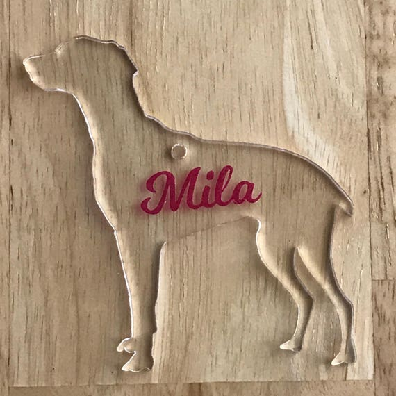 WHIPPET Clear Acrylic Ornament, Personalized | Keychain | Backpack Bling | Free Shipping