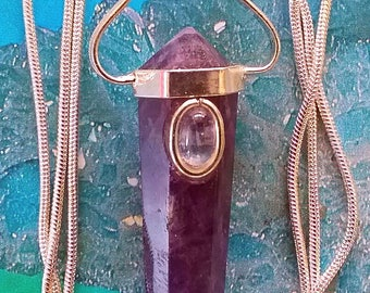 Purple AMETHYST and Moonstone Crystal 925 Silver Double Terminated PENDANT With Silver Chain and Optional Matching BRACELET