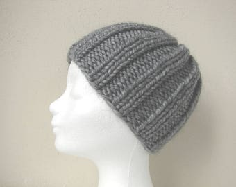 Knit hat gray child warm comfortable chunky winter hat girl knit in round alpaca hat, hat kid, acrylic hat, chunky hand knit gray hat boy