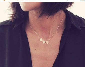 ON SALE 3 Heart Necklace / 14K Gold Heart Necklace / Three Initial Necklace / Tiny Heart Necklace / Mini Heart Necklace / Dainty Heart Neckl