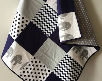Navy and Grey Elephant Quilt