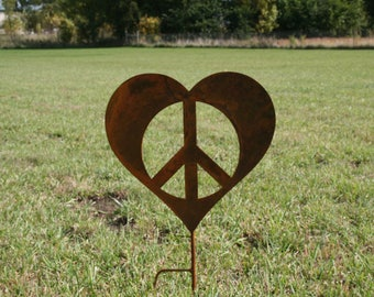 Metal Heart Peace Sign Garden Stake, Valentine heart, heart yard sign, peace and love, peace hearts, peace sign, peace symbol
