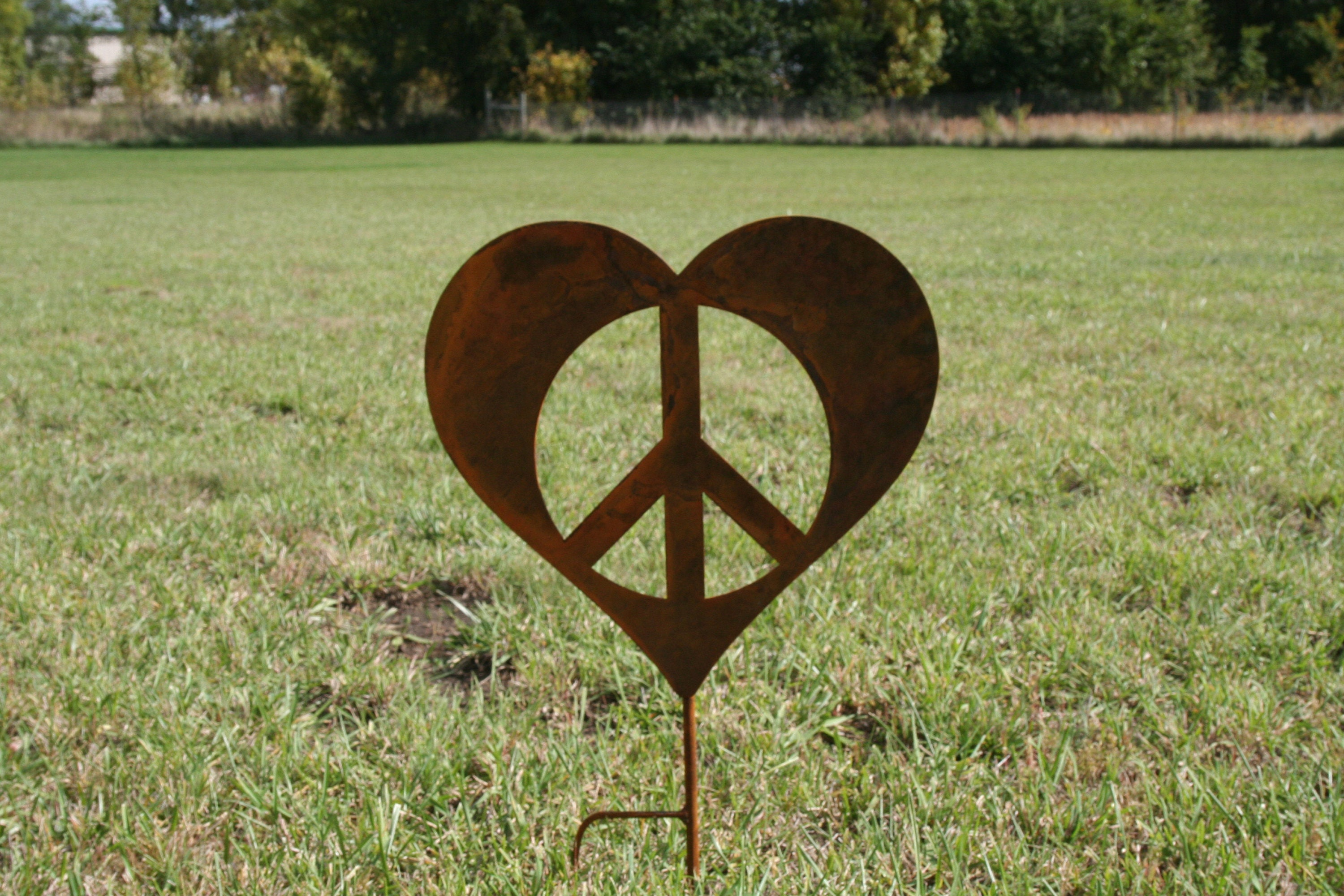 Metal heart peace sign garden stake valentine heart heart yard metal heart peace sign garden stake valentine heart heart yard sign peace and love peace hearts peace sign peace symbol biocorpaavc