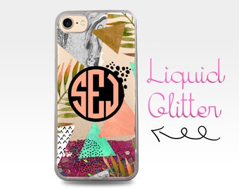 Monogram Initials Coral Triangle Marble Pattern Liquid Glitter Sparkle Clear Case iPhone 6 Plus + iPhone 6s iPhone SE iPhone 7 iPhone 7 Plus