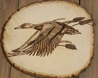 Wood Burning of Duck and Cattails.
