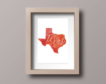 Texas watercolor map, state map, Texas, downloadable, printable