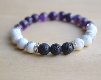 Amethyst Bracelet / Howlite Bracelet / Meditation Bracelet / Yoga Bracelet / Genuine Gemstone Bracelet / Essential Oil Diffuser Bracelet