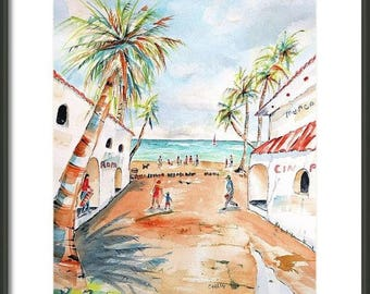 Playa Del Carmen Mexico, ORIGINAL Watercolor Painting, 12x16, market shops, tropical decor, beach wall art, 5th, Hand Painted, shopping