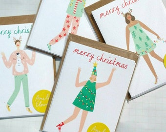 Assorted Pack of 4 Christmas Cards A6