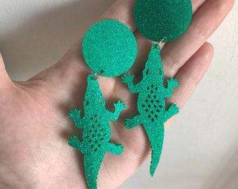 Statement Glitter Green Crocodile Dangle Earrings Fun Quirky Unique
