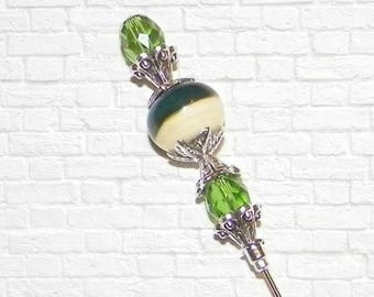 Hat Pin Victorian Style Green Glass Edwardian Vintage Antique 6 Inch Steampunk Stick Lapel Pin With Protector
