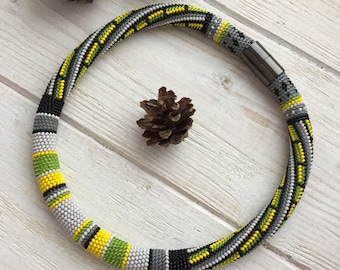 Thin Short Lime Yellow Gray Crocheted Bead Rope Necklace with Stripe Pattern, Czech Seed Bead Knitted Lariat