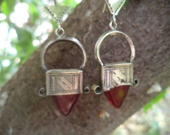 Marokko,Moroccan Antique Tuareg Silver Ingall Cross, RED Glass Earrings