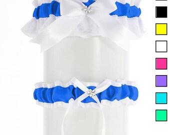 Blue Wedding garter set, bridal garter set, white blue satin  garter, wedding lingerie, handmade garter, bride garter, plus size garter PP3