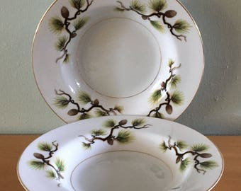 Lovely pair of Narumi Japan fine china green & brown Shasta Pine bowls with gold leaf trim for tropical Old Florida home!