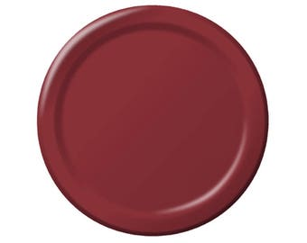 "Burgundy 7"" Dessert Paper Plates, Wedding Plates, Bridal Shower Plates"